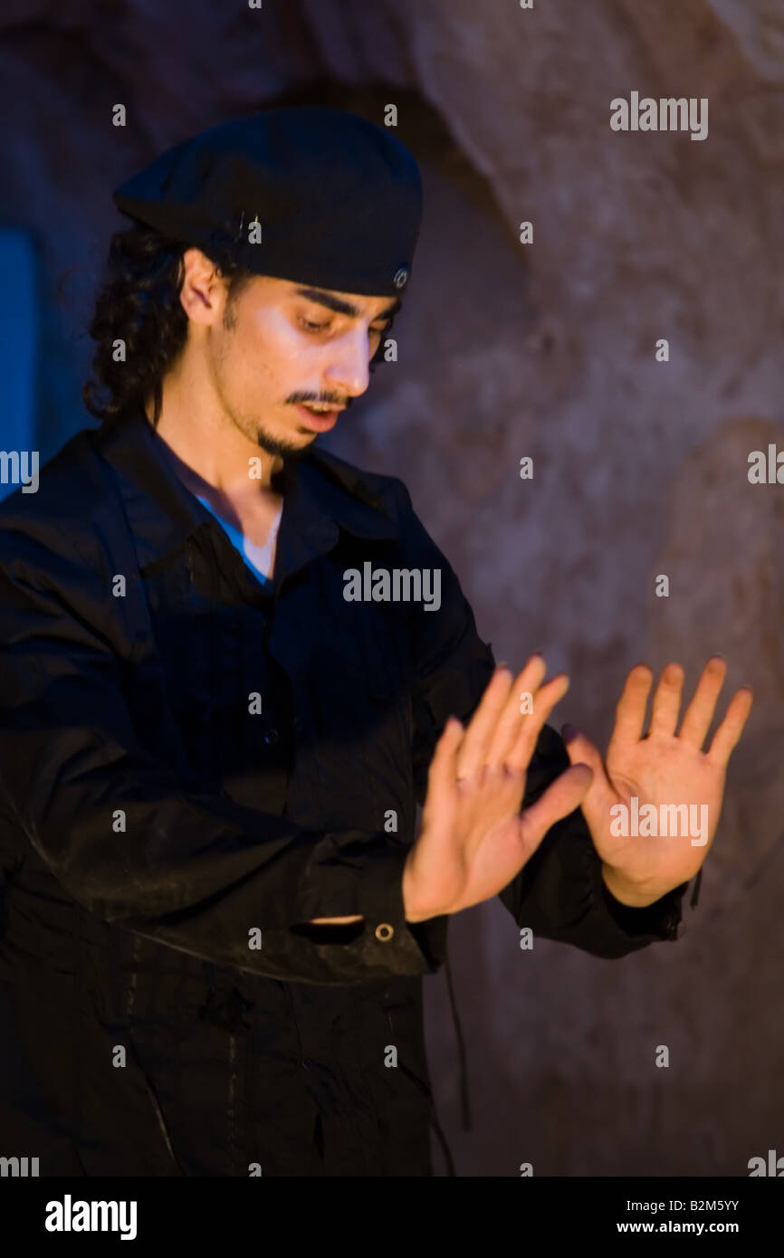 Actor Israel Shalom of the Martef Theatre in Faust by Johann Wolfgang von Goethe - Stock Image