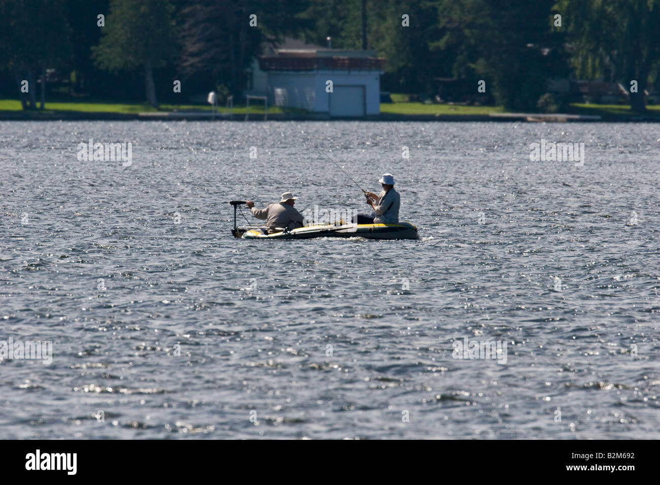 Fishing and boating in cottage country - Stock Image