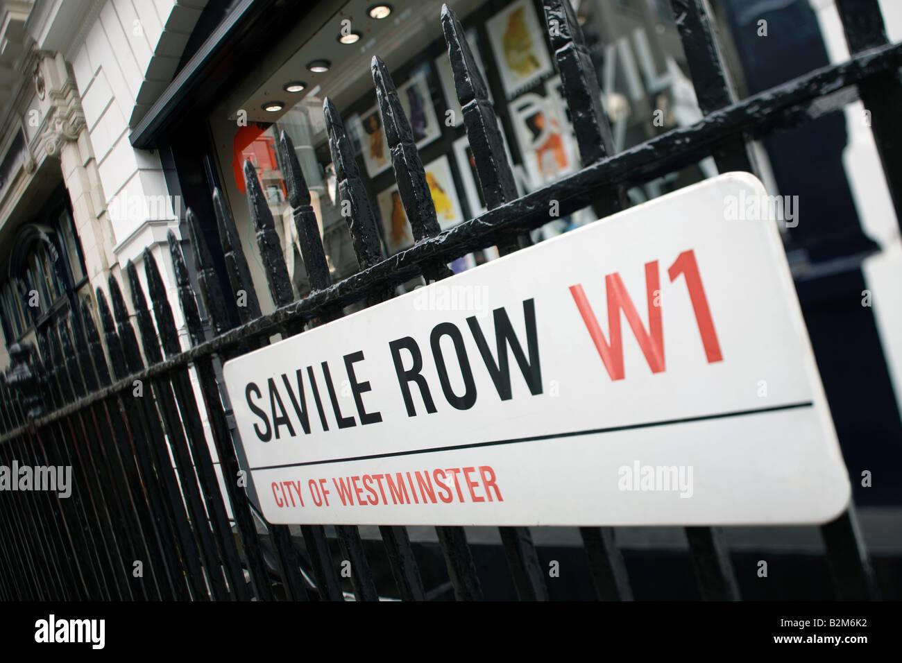 SAVILLE ROW STREET SIGN MAYFAIR LONDON ENGLAND UK - Stock Image