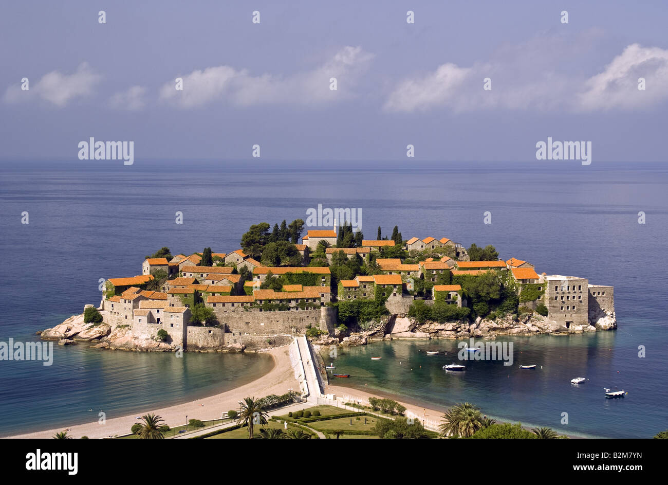 Sveti Stefan, exclusive island luxury resort hotel, on Budva Riviera of Adriatic Sea - Stock Image