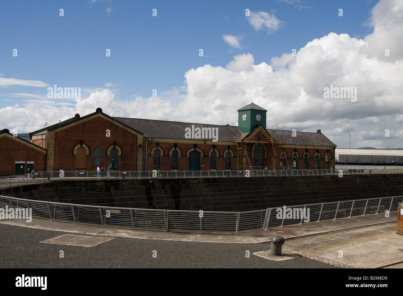Pump house and dry dock where the SS Titanic was built - Stock Image