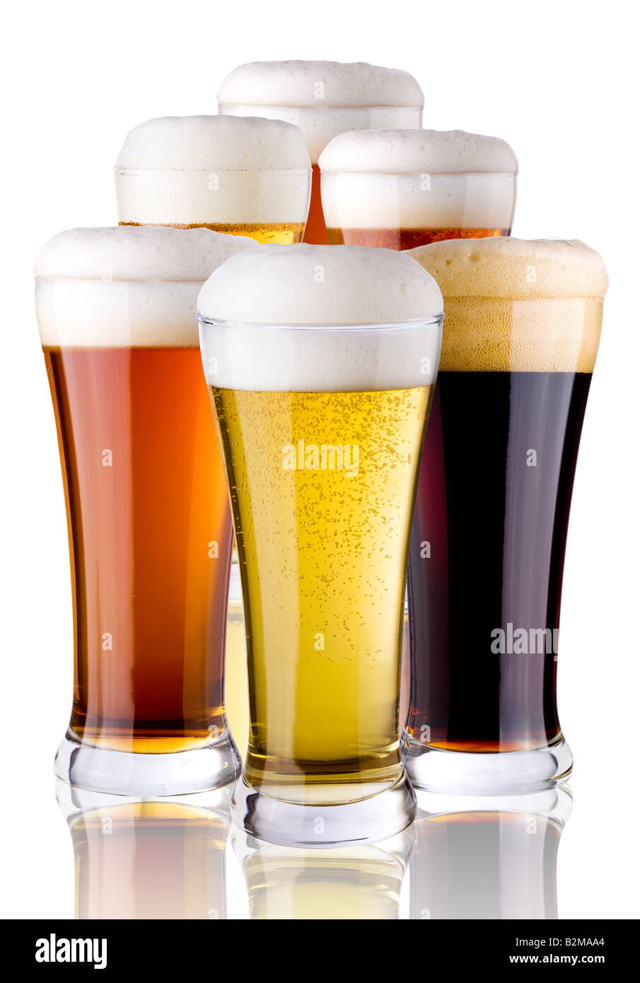 glasses with beer - Stock Image