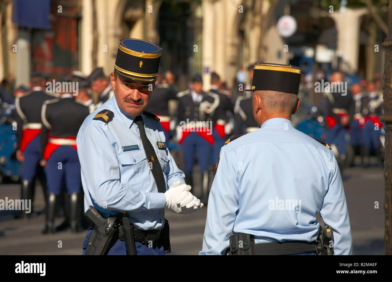 Gendarmerie at the Champs Elysees on Bastille Day July 14th 2008 Paris France - Stock Image