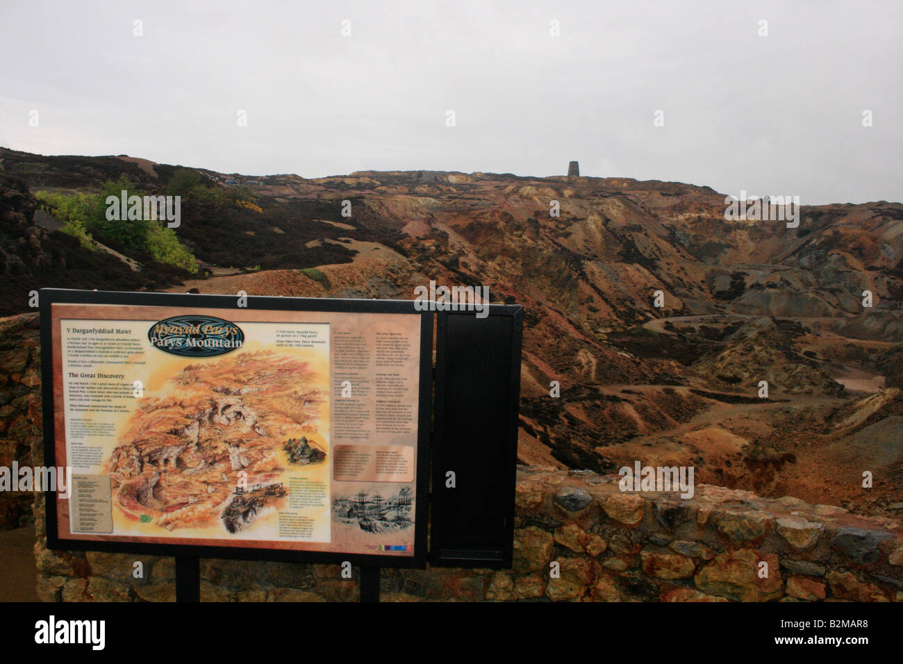 Panel explaining the copper mining history of Parys mountain in Anglesey. - Stock Image