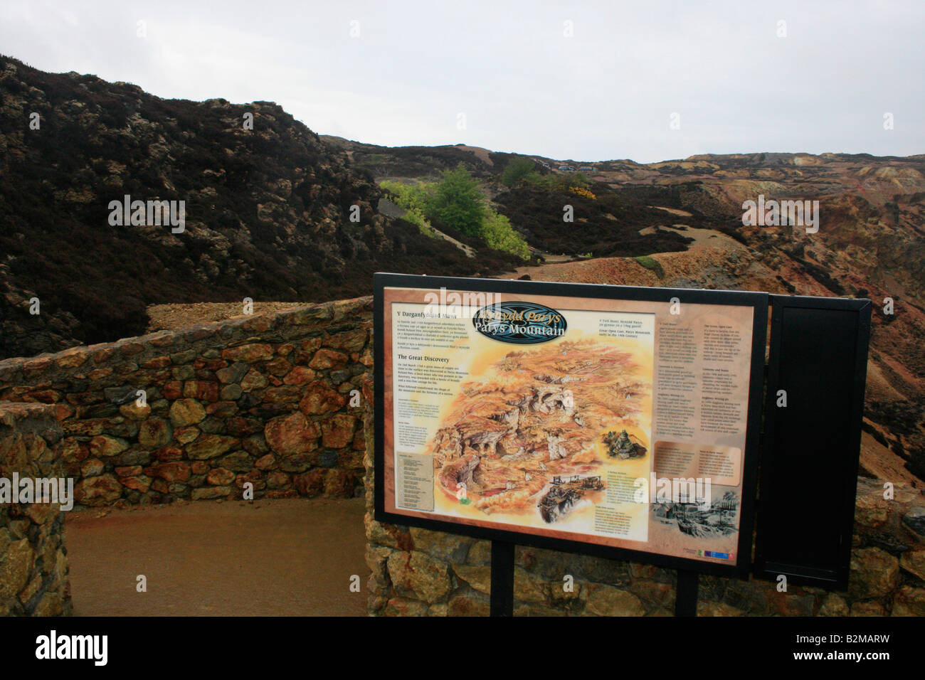 Panel explaining the copper mining history of Parys Mountain in the island of Anglesey - Stock Image