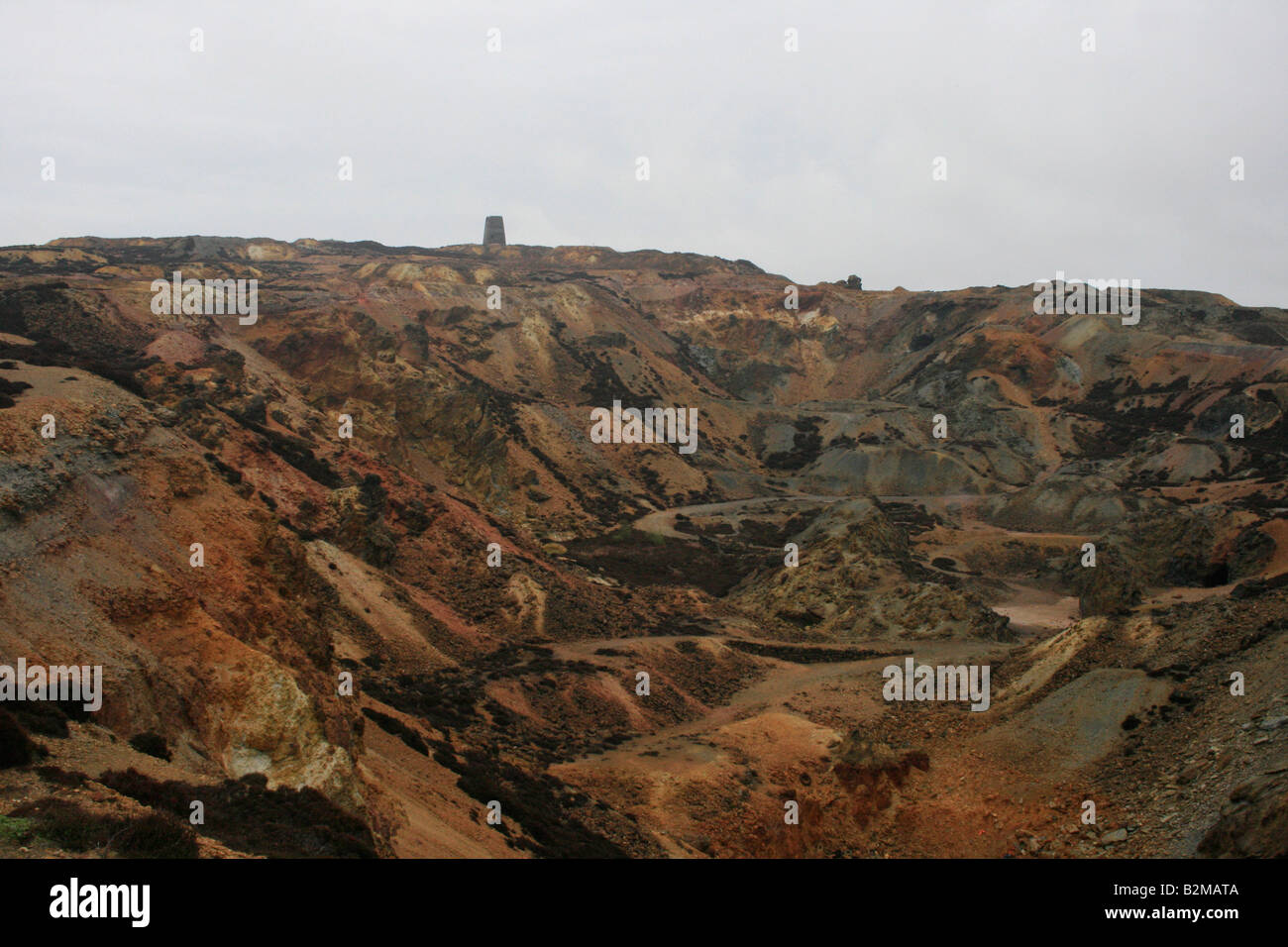 Man made landscape created by copper mining in Parys Mountain in the island of Anglesey - Stock Image