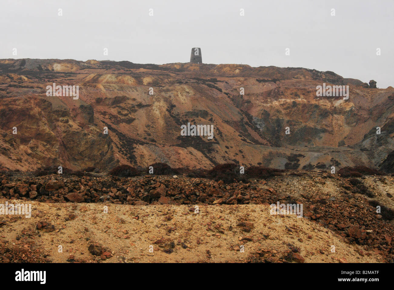Old disused copper mine at Parys Mountain in Anglesey - Stock Image