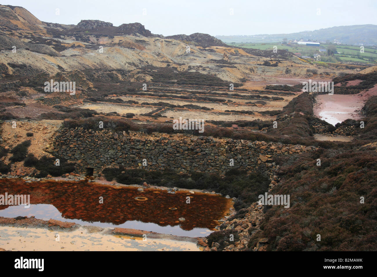 The old copper mine of Parys Mountain on the island of Anglesey in Wales - Stock Image