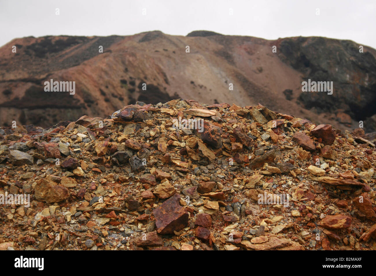 Old copper mines of Parys Mountain in Anglesey - Stock Image