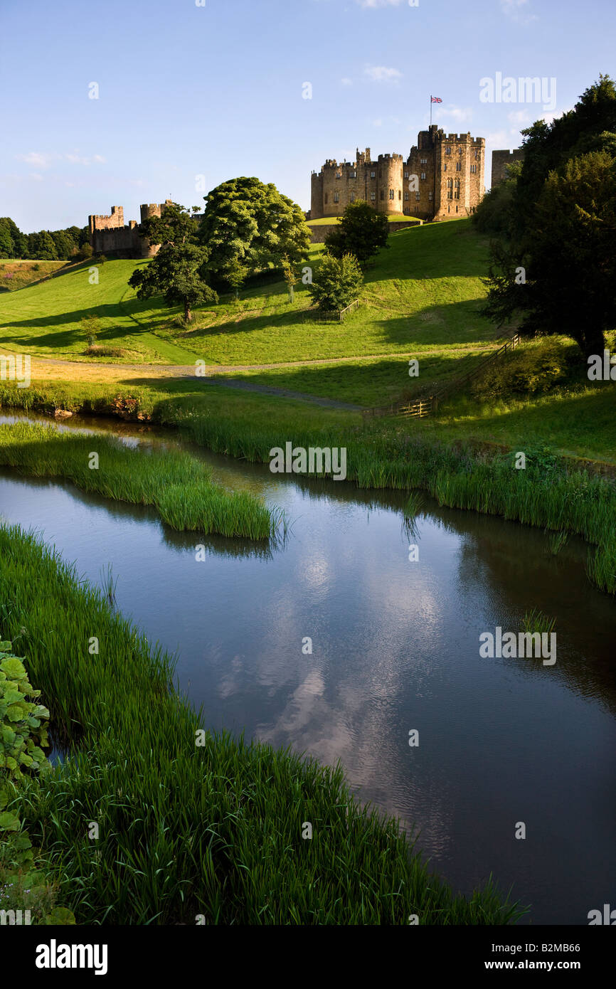 Alnwick Castle in the town of Alnwick in Northumberland in North East England. Dates from 1096AD - Stock Image