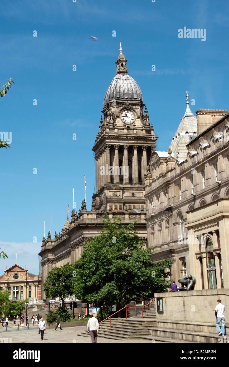 Leeds town seen beyond the library and art gallery in Victoria Square - Stock Image