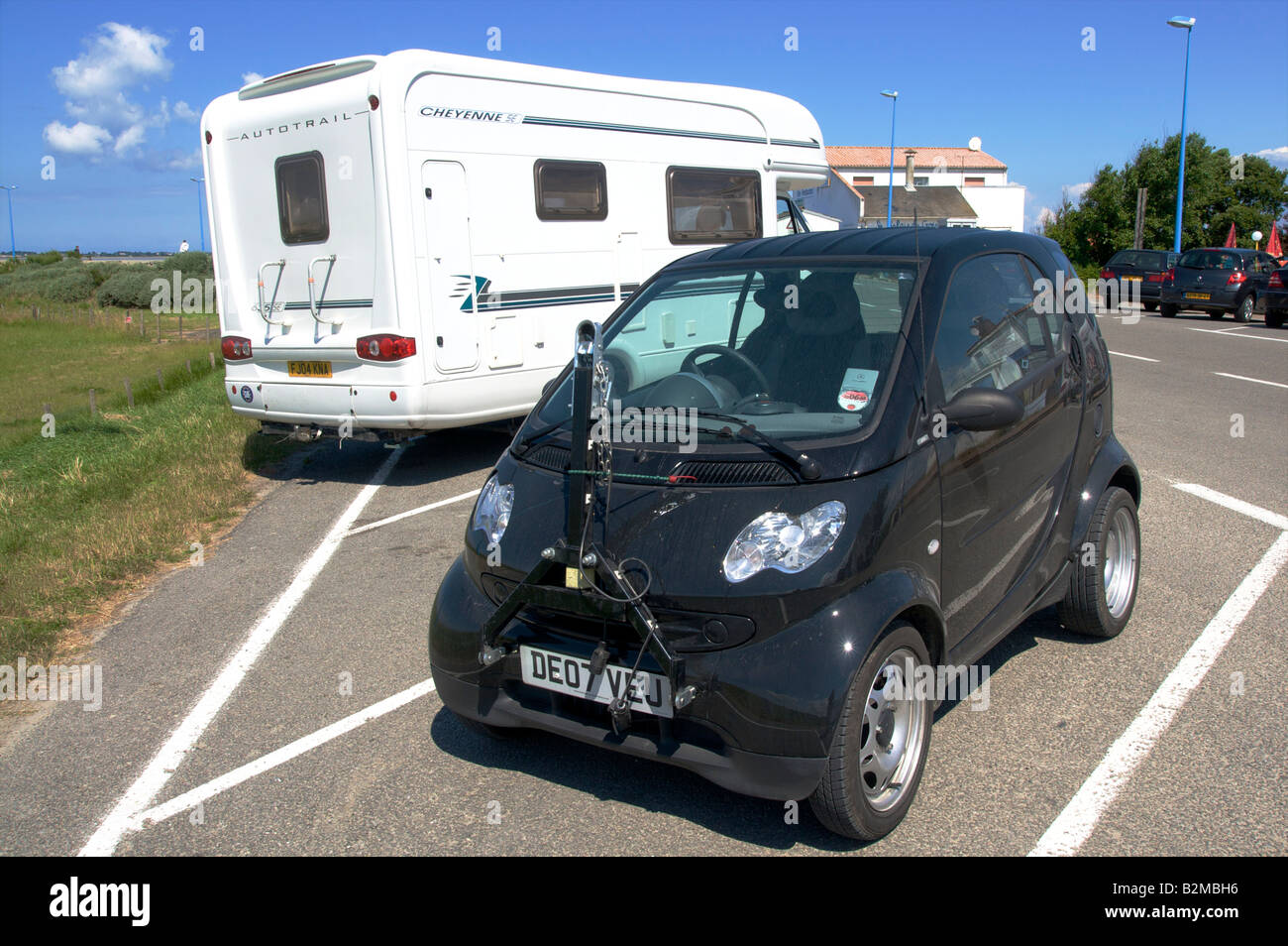 Smart Car With Tow Hitch At Front To Allow Towing Behind An Rv Stock