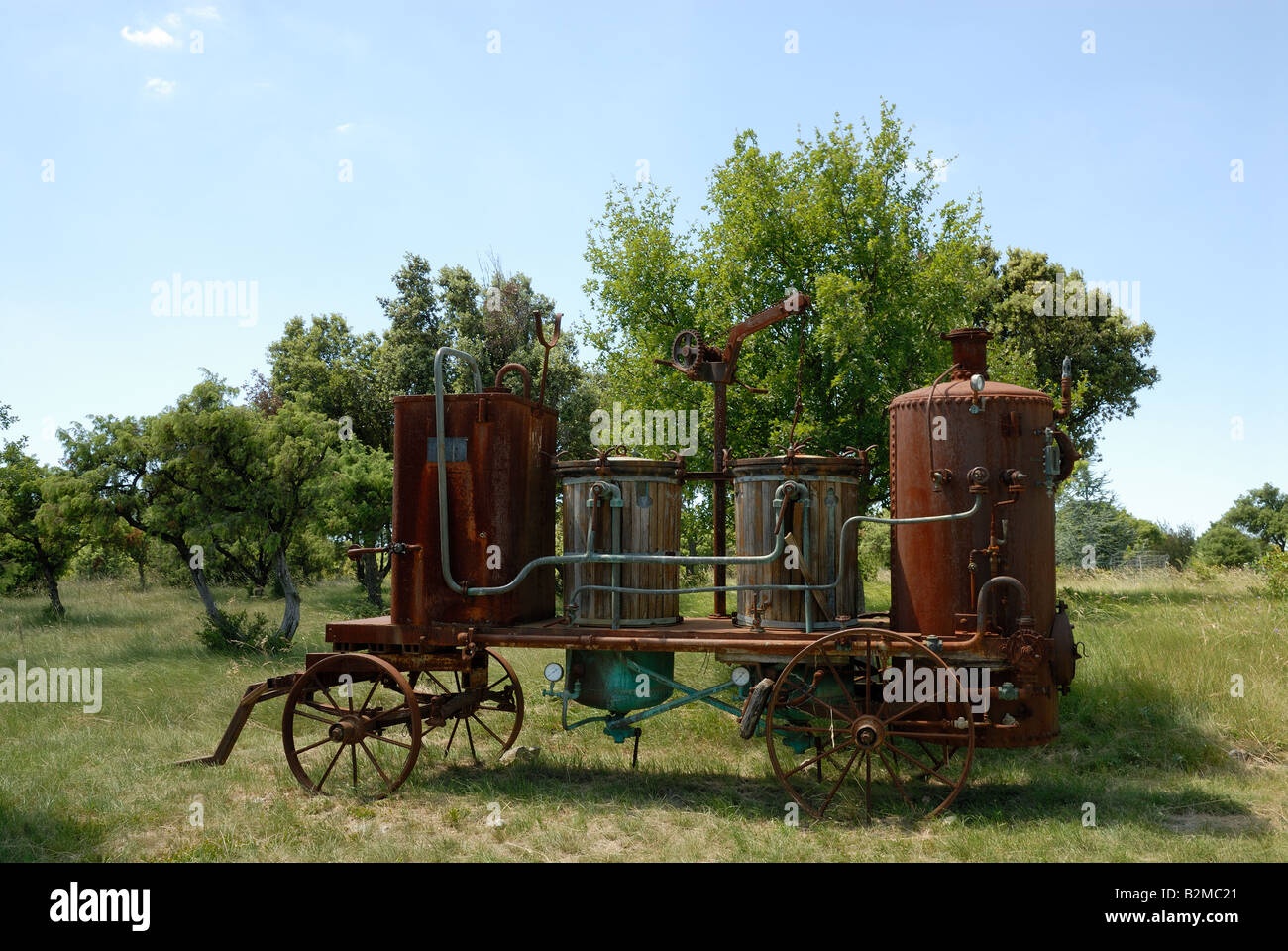 Old distill machine and lavender field in the Provence, France Stock Photo
