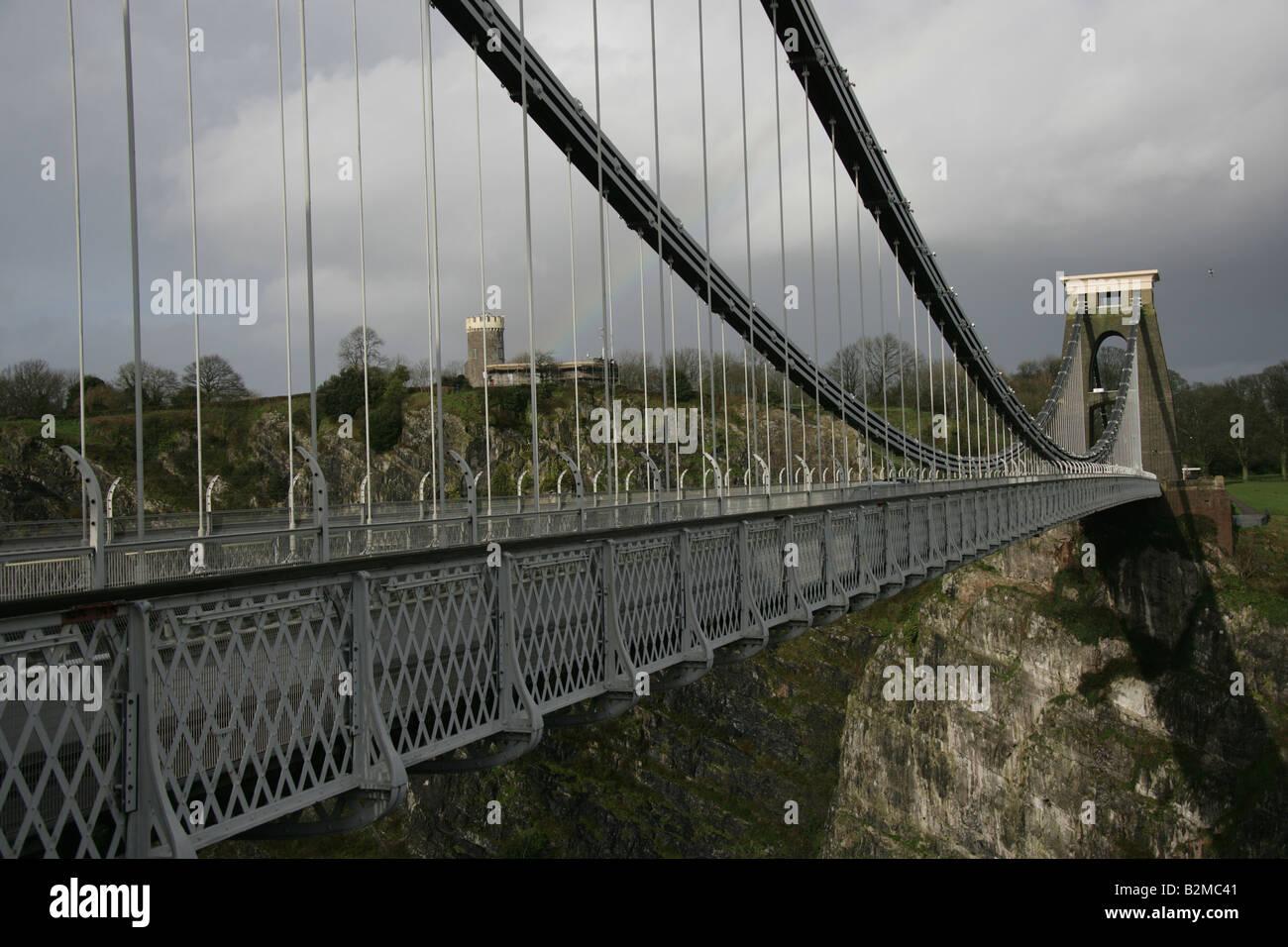 City of Bristol, England. The Isambard Kingdom Brunel designed Clifton Suspension Bridge over the Avon Gorge and - Stock Image