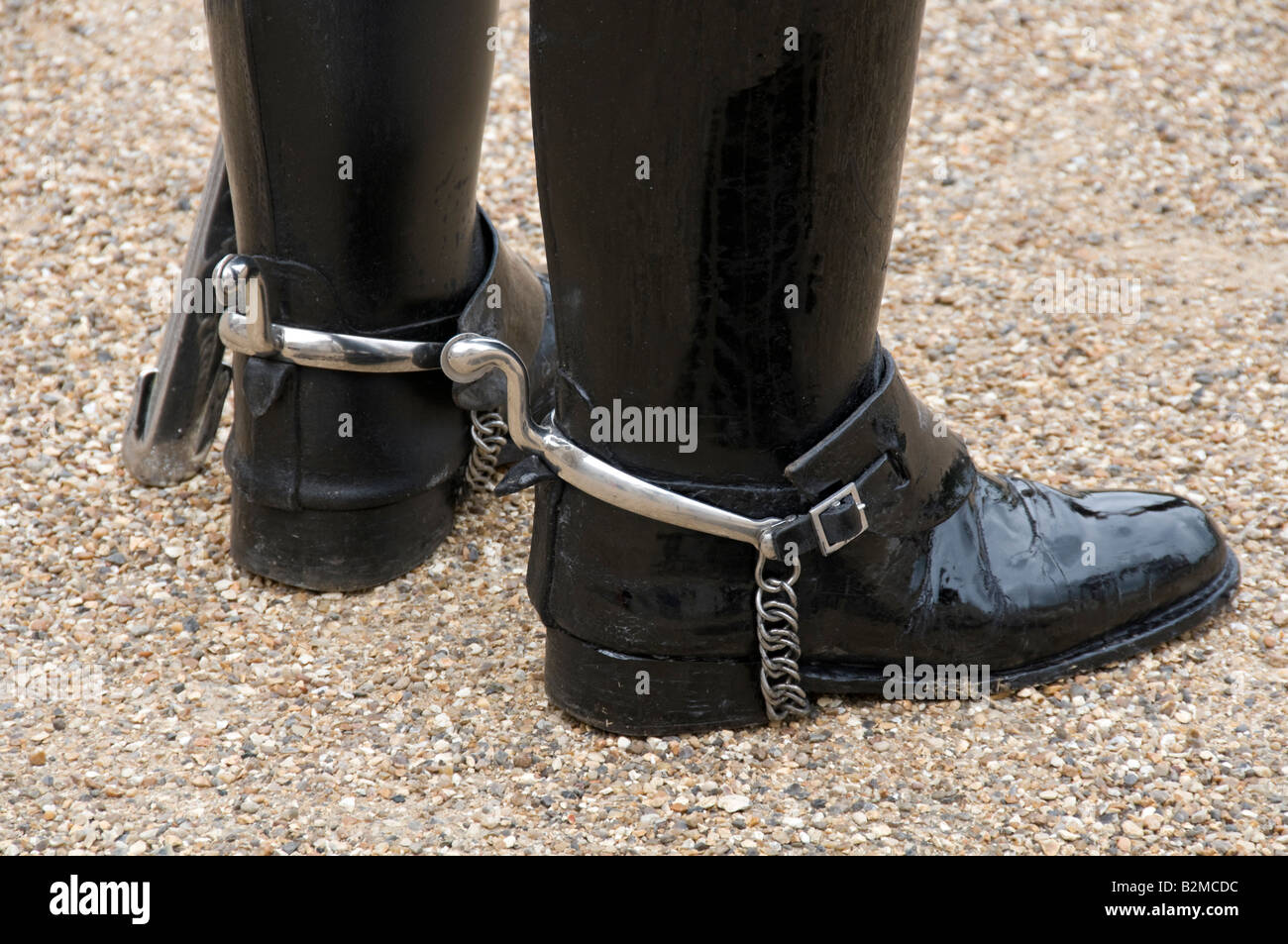 Boots and spurs of a horse guard on duty in the Horse Guards Parade,  Whitehall, London