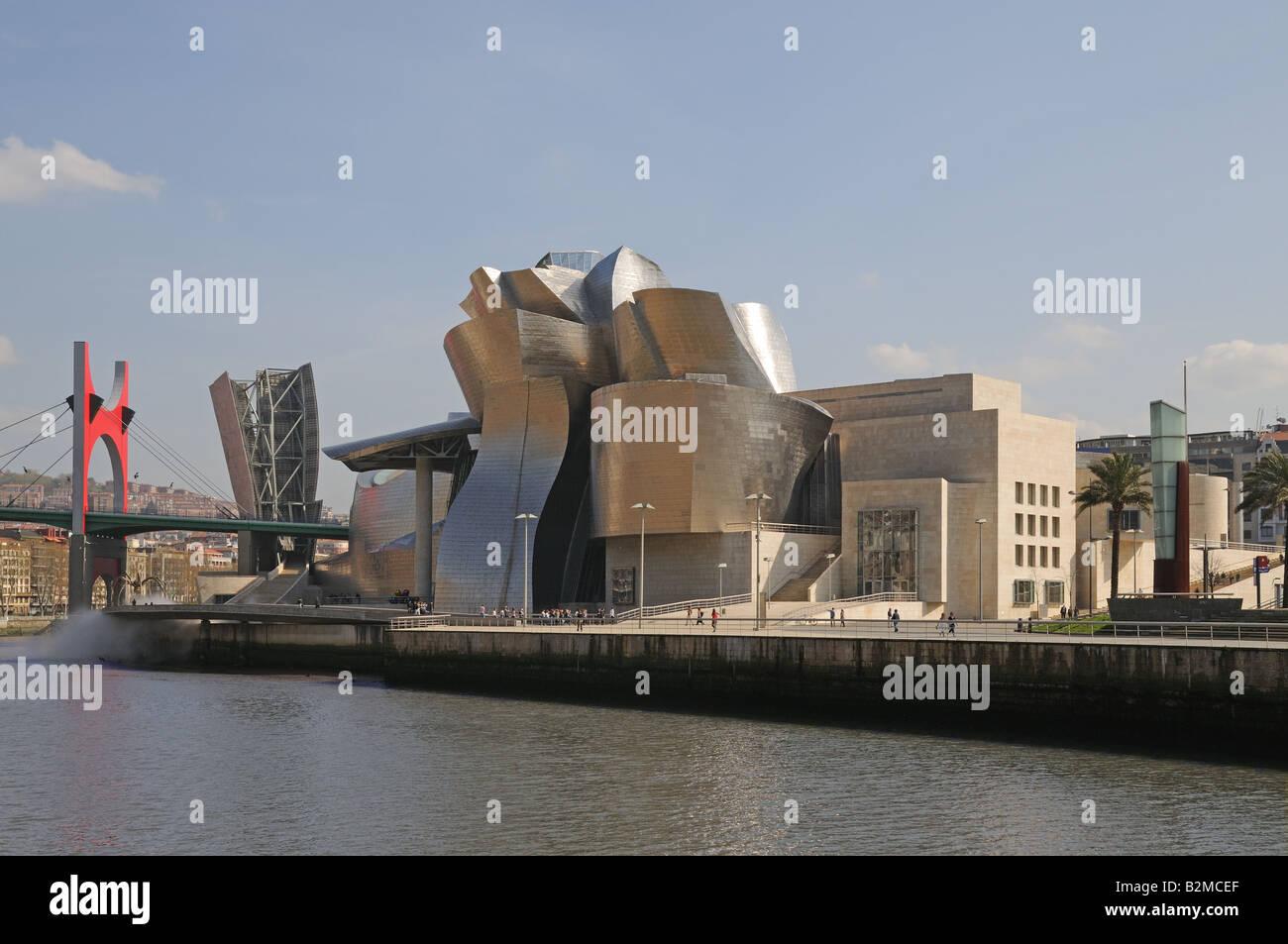 Guggenheim Museo.Museo Museum Guggenheim Bilbao On The Banks Of The Ria De Bilbao Or