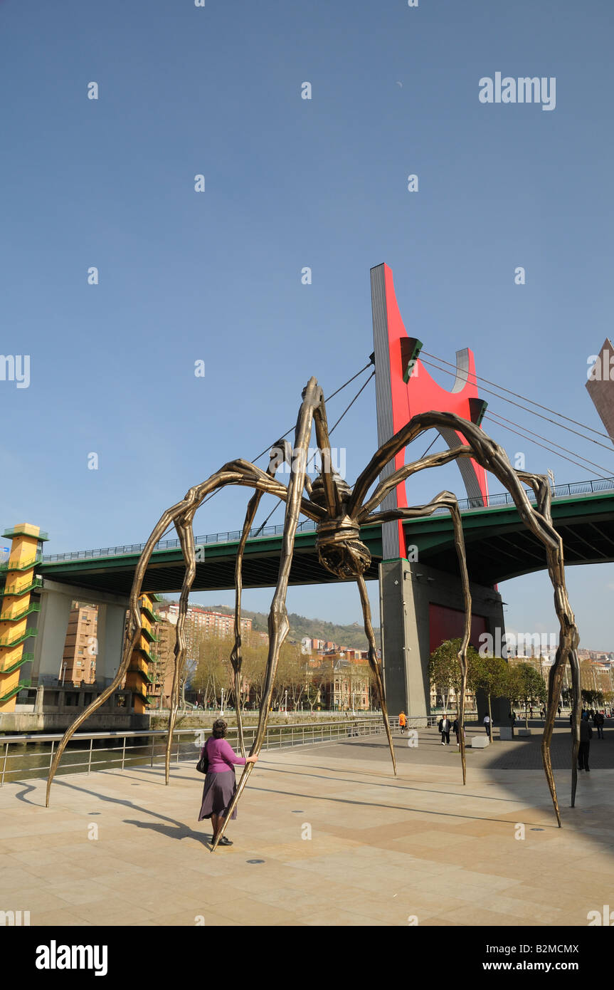 The Maman a huge metal sculpture of a Spider by Louise Bourgeois at the Guggenheim Museum Bilbao Spain - Stock Image