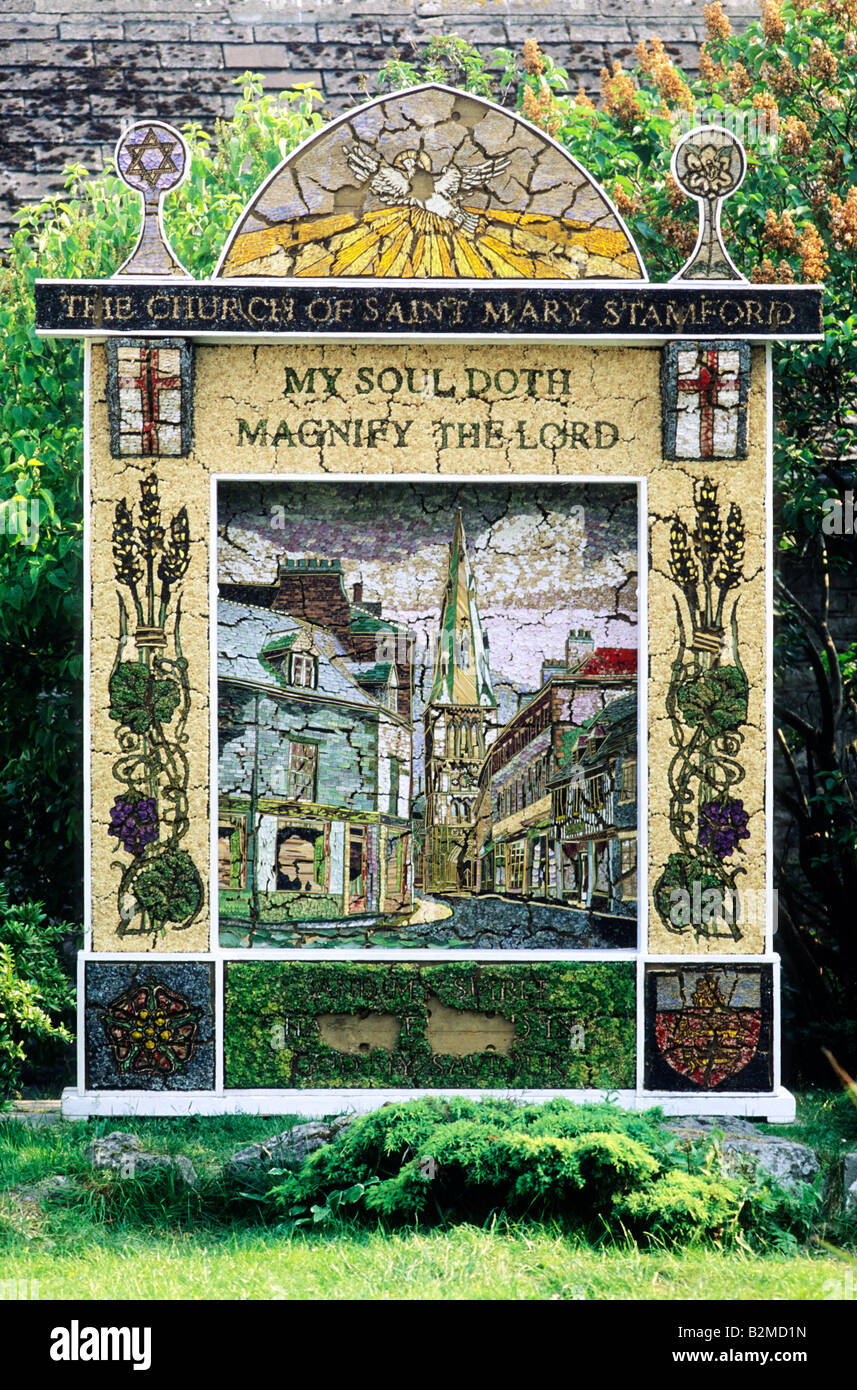 Well Dressing Tideswell Derbyshire biblical text tradition traditional annual English custom folklore England UK - Stock Image