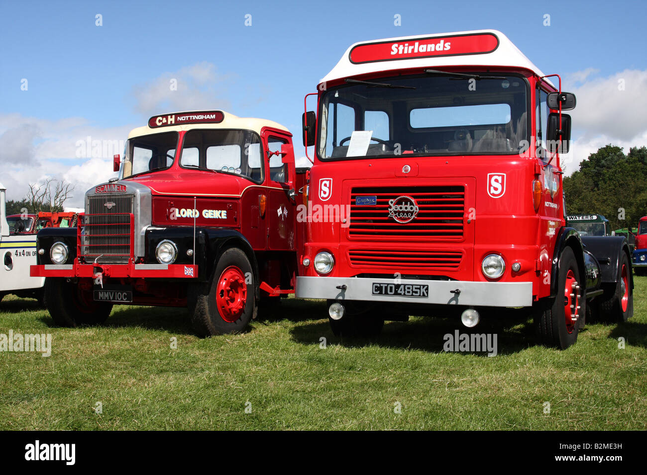 Vintage lorries. Scammell and Seddon tractor units at the Cromford Steam Engine Rally 2008 - Stock Image