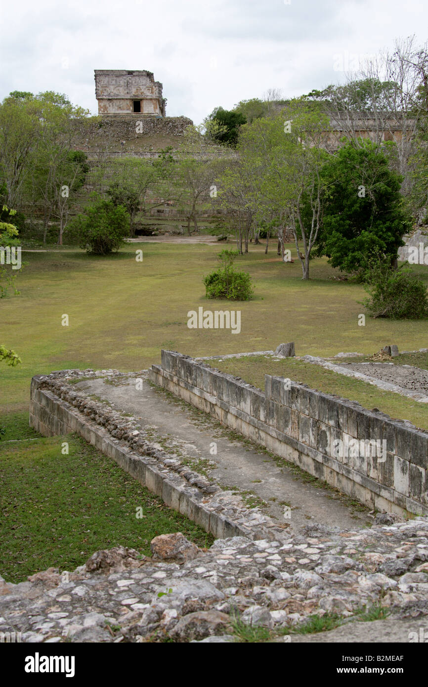 Uxmal Archeological Site with the House of the Turtles in the Background, Yucatan Peninsular, Mexico. Stock Photo