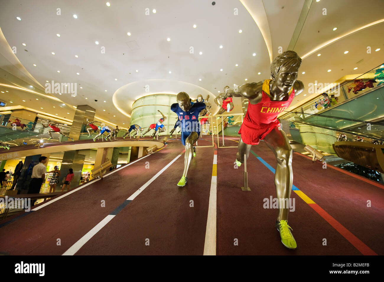 China Beijing Wangfujing Olympic sporting display Stock Photo