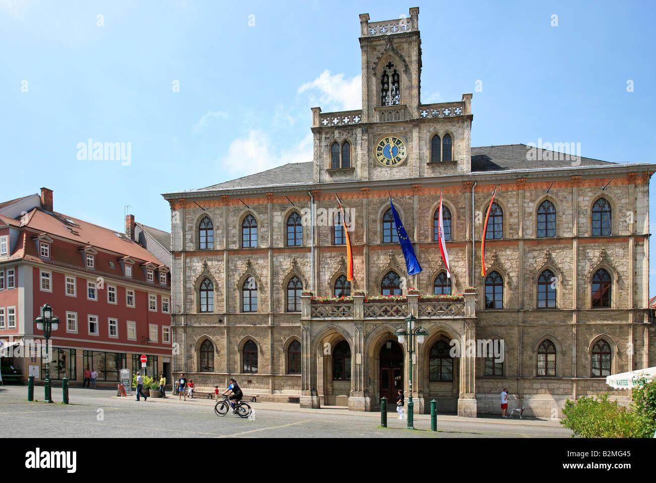 town hall of Weimar in Germany, Europe; Neptunbrunnen vor dem Rathaus in Weimar Stock Photo
