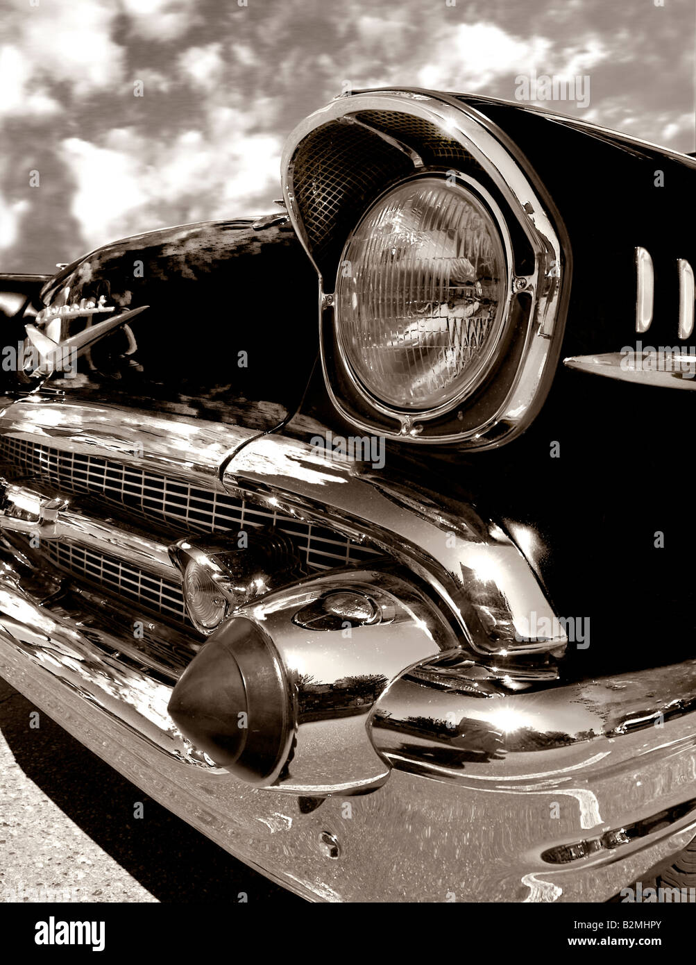 Dramatic detail of a 1957 Chevrolet Bel air, in black and white. - Stock Image