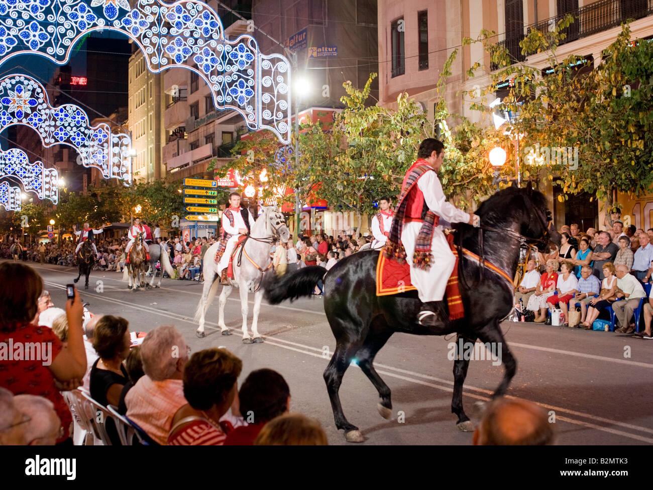 Costa Blanca Spain Alicante Fogueres de San Juan summer fiesta horse riding display - Stock Image