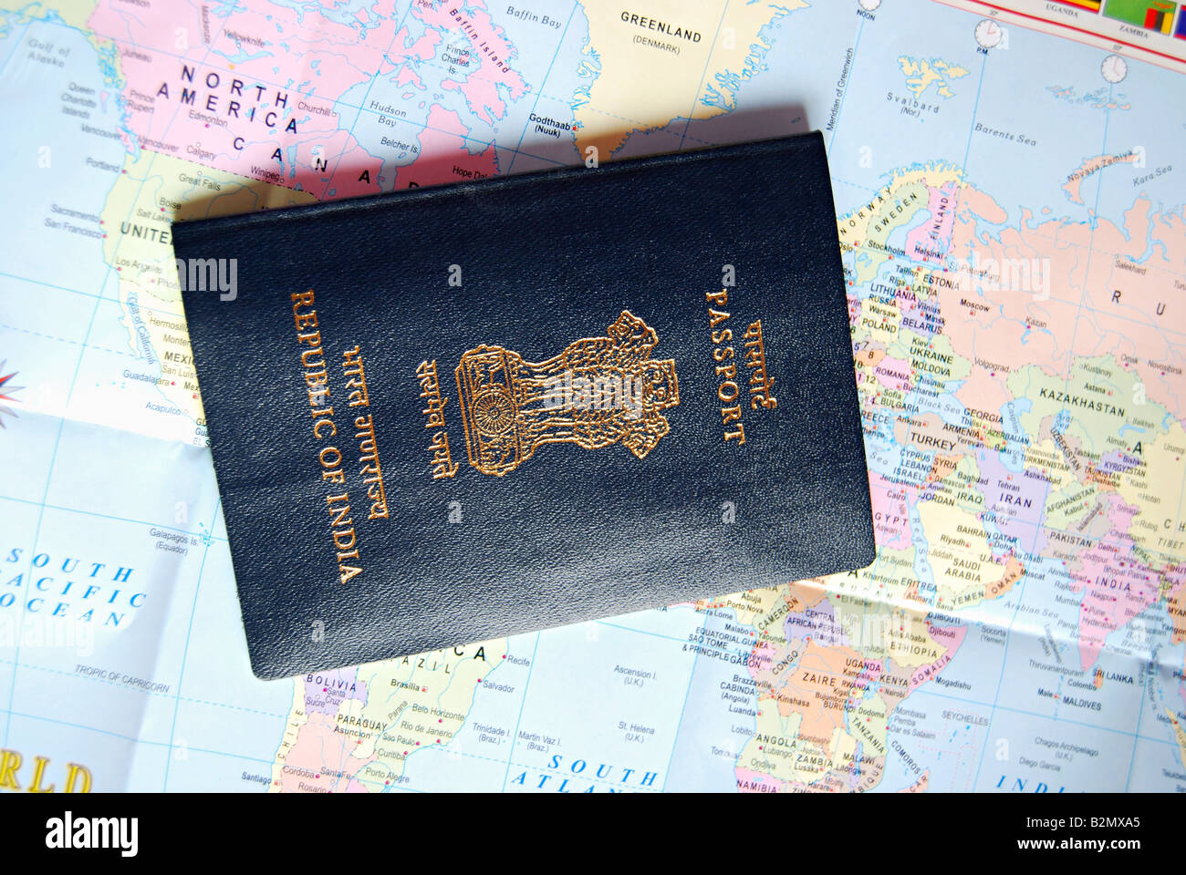 Indian passport placed on top of world map stock photo 18899389 alamy indian passport placed on top of world map gumiabroncs Images