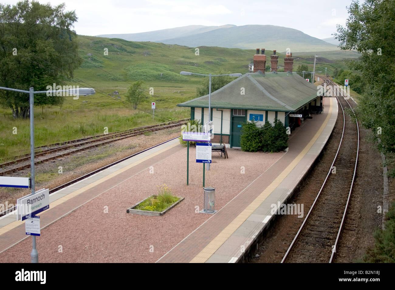 Rannoch Railway Station Platform And Sign On Moor In Perth Kinross Scotland