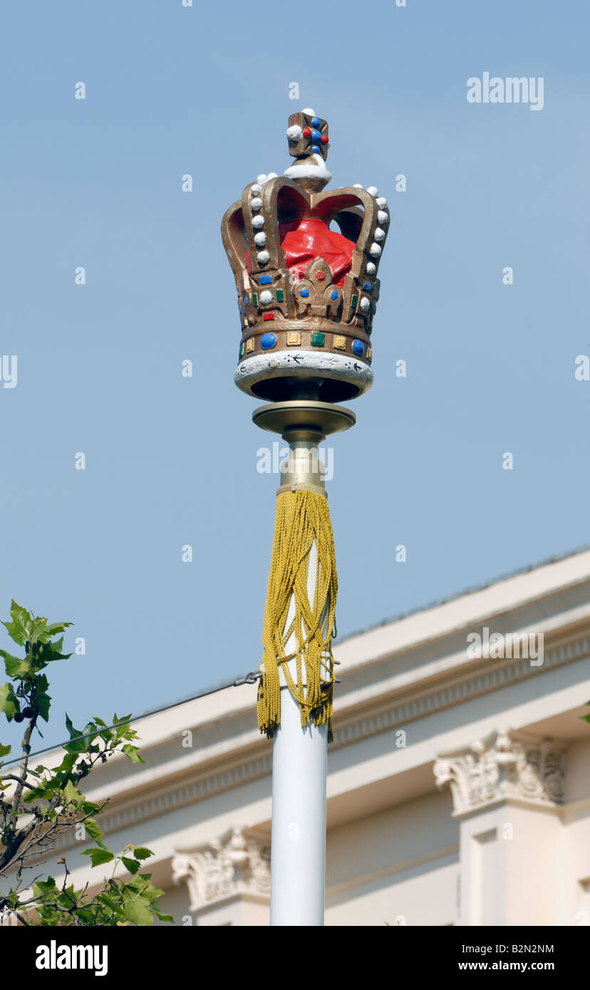 Crowned Flagpole, The Mall, London - Stock Image