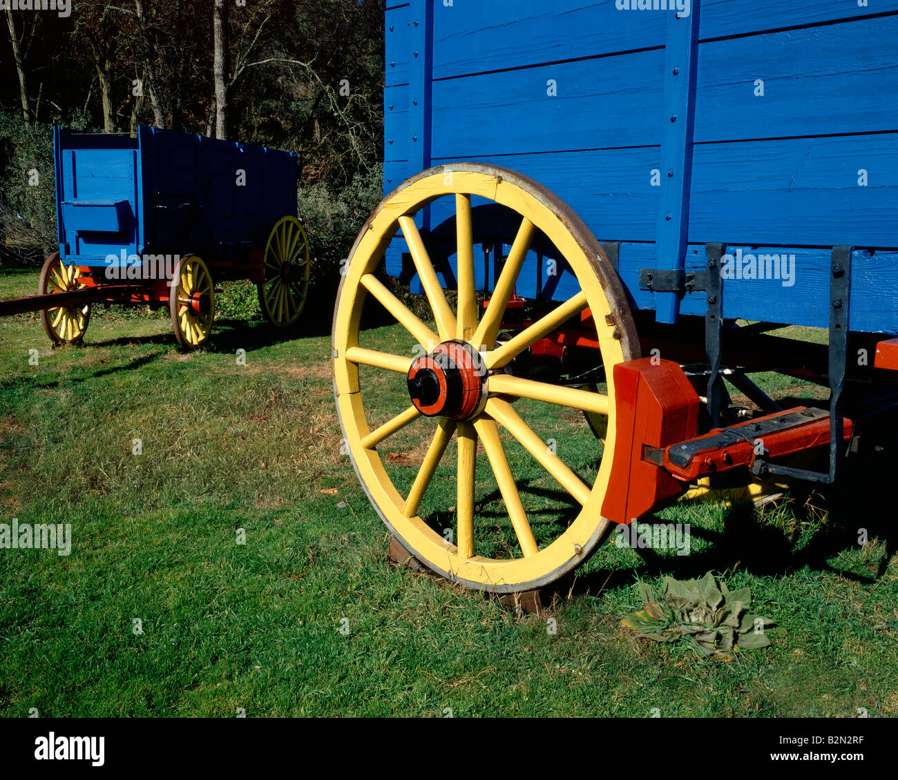 Wagon Wheel of Ore wagons at the Marshall Gold Discovery Historic Park, California, by Willard Clay/Dembinsky Photo - Stock Image