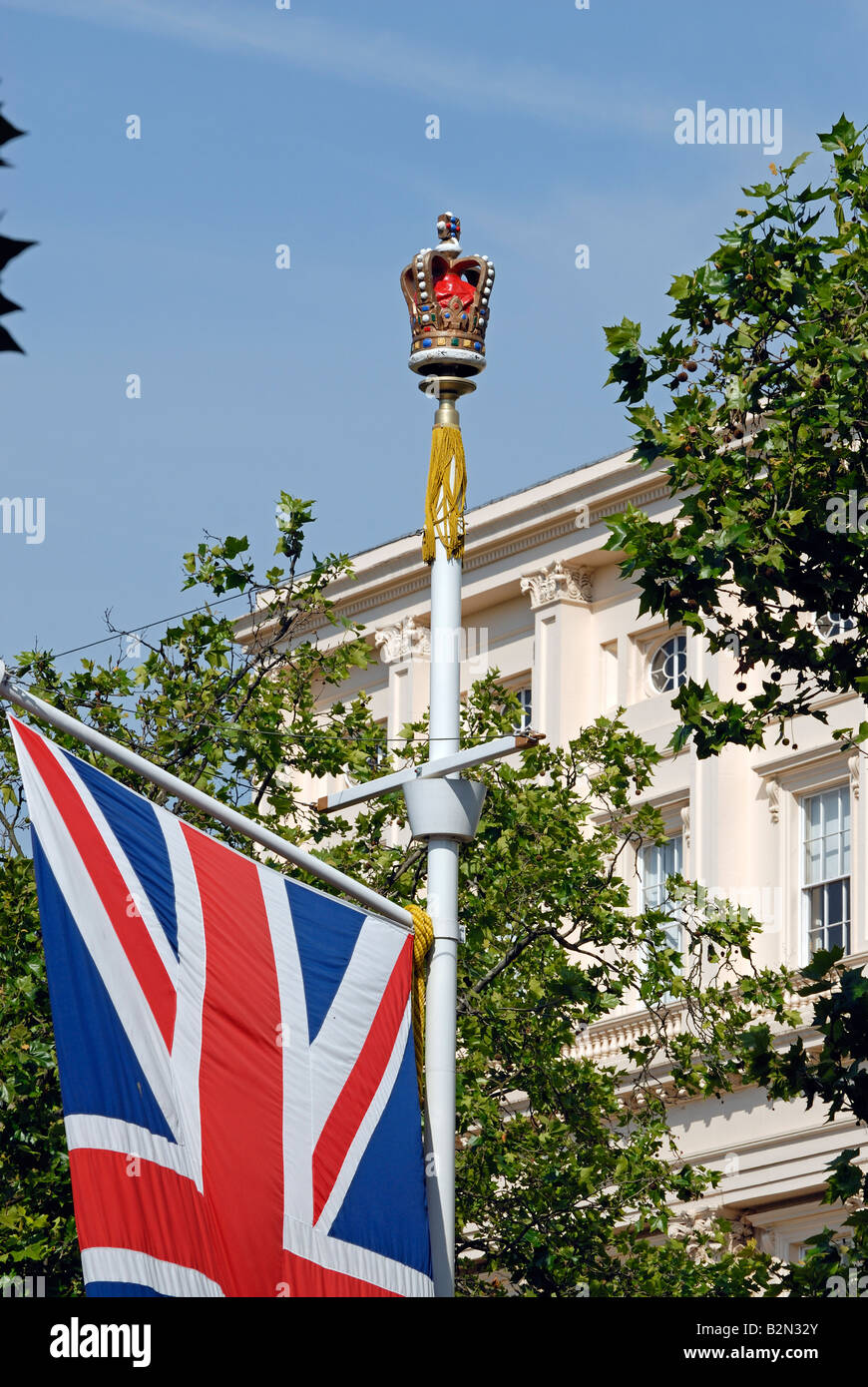 Crown and Union Jack, the Mall, London - Stock Image
