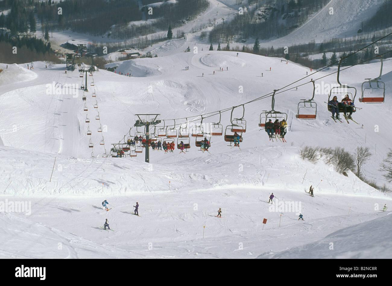 Ski Slopes In Val Di Luce Abetone Italy Stock Photo Alamy