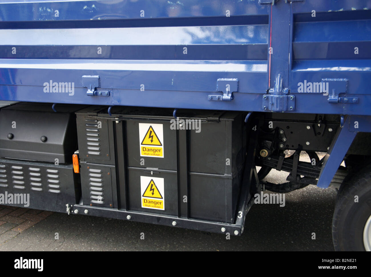 Batteries fitted to electric delivery van - Stock Image
