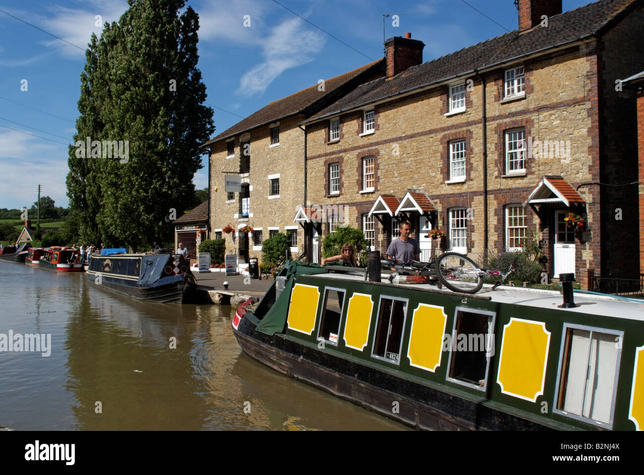 Narrowboats at Stoke Bruerne Grand Union Canal Northamptonshire England - Stock Image