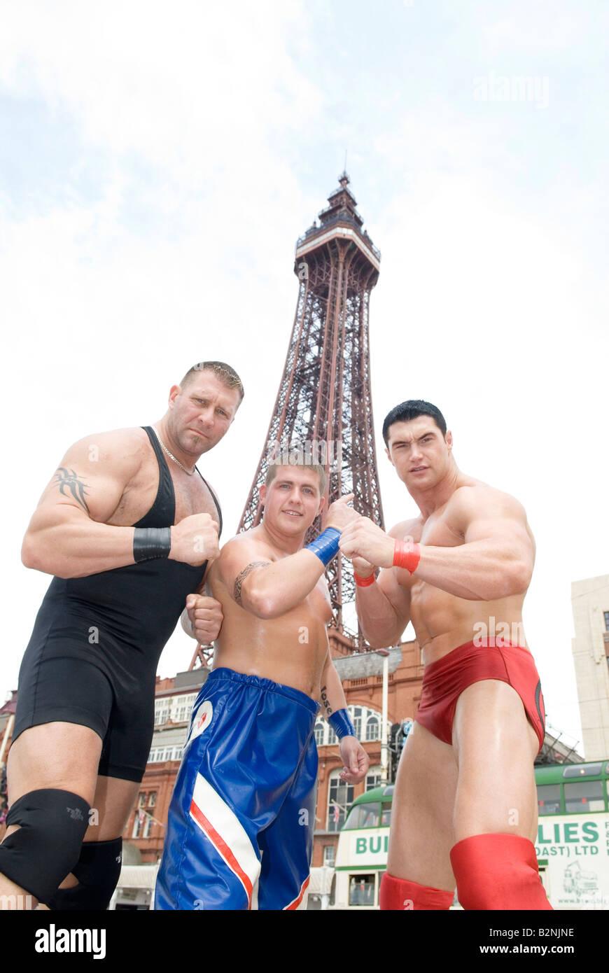 American style superslam wrestlers - Stock Image