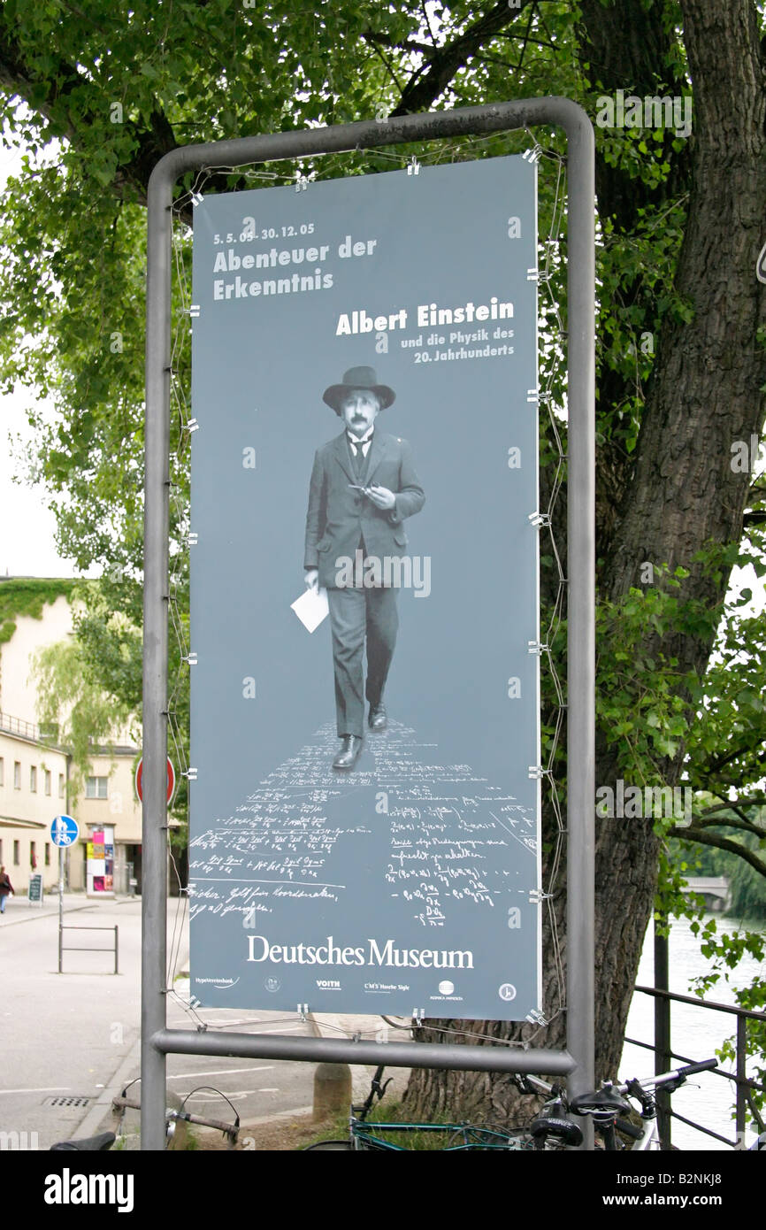 Munich Germany Albert Einstein museum sign - Stock Image