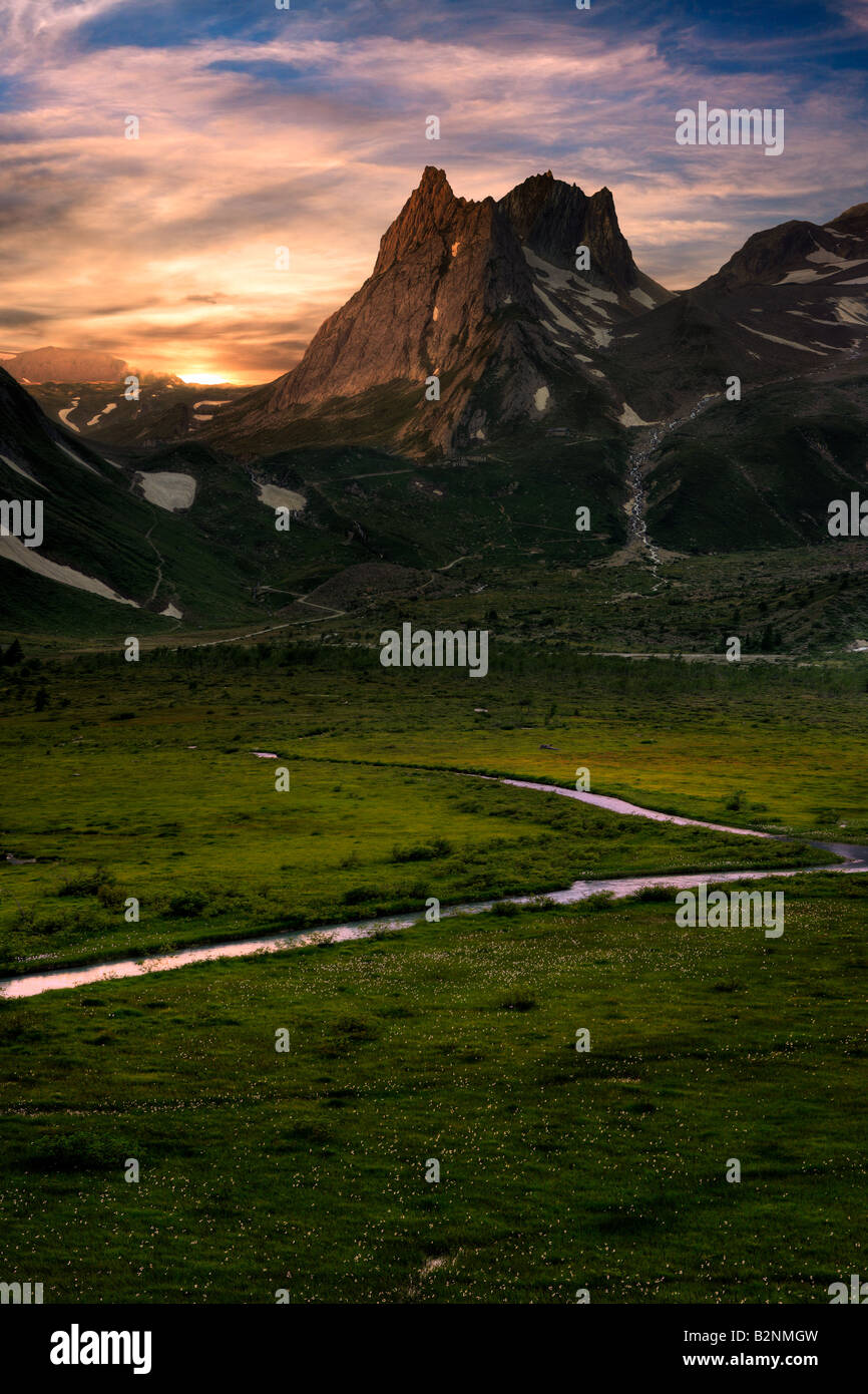 The Combal plain - originally a lake now dried up - and the Pyramides Calcaires at sunset. Val Veny, Valle d'Aosta, - Stock Image