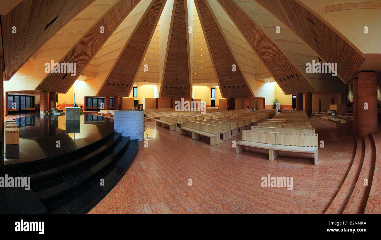 An inside panoramic view of the Sacro Volt Church in Turin, Italy, masterpiece of the Italian architect Mario Botta - Stock Image