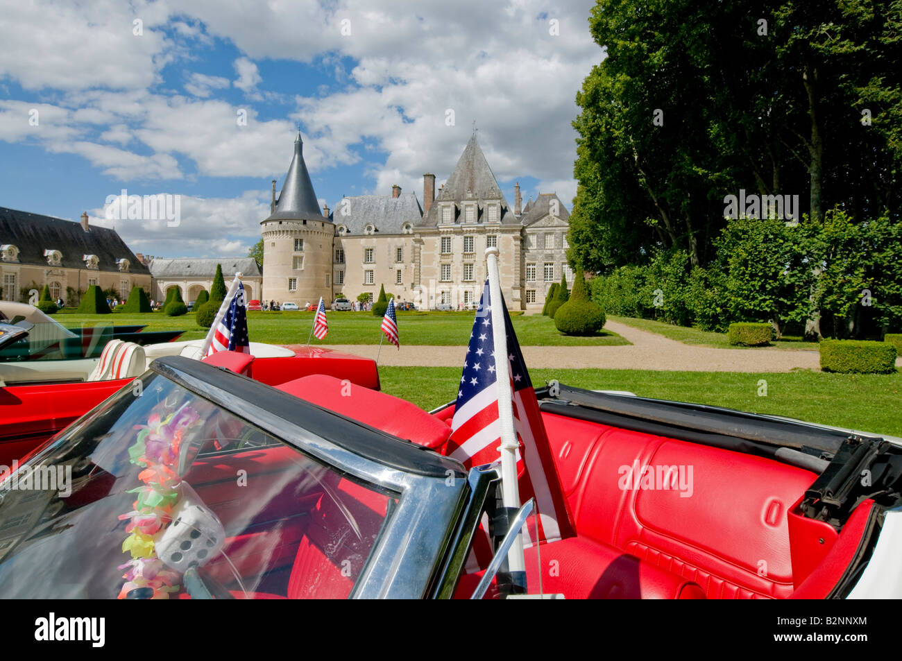 American convertible at car show in the park of Chateau Azay-le-Ferron, Indre, France. - Stock Image