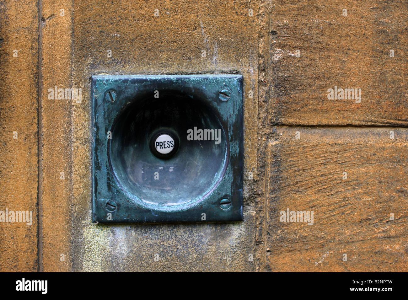Old door bell in University College, Oxford, Oxfordshire, UK - Stock Image