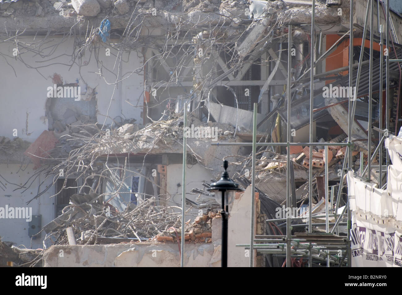 Demolition of the Swiss Centre, Leicester Square, London UK Stock Photo