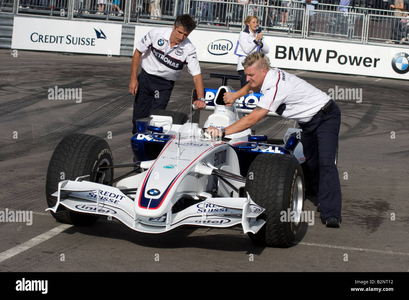 Formula One car at the BMW Sauber Pit Lane Park at The Trafford Centre in Manchester Stock Photo