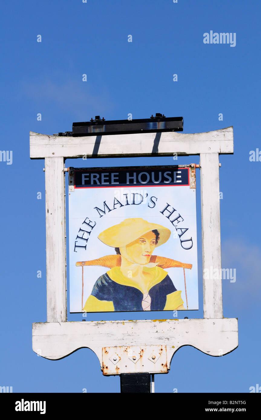 The Maids Head Pub Sign Wicken Cambridgeshire England UK - Stock Image