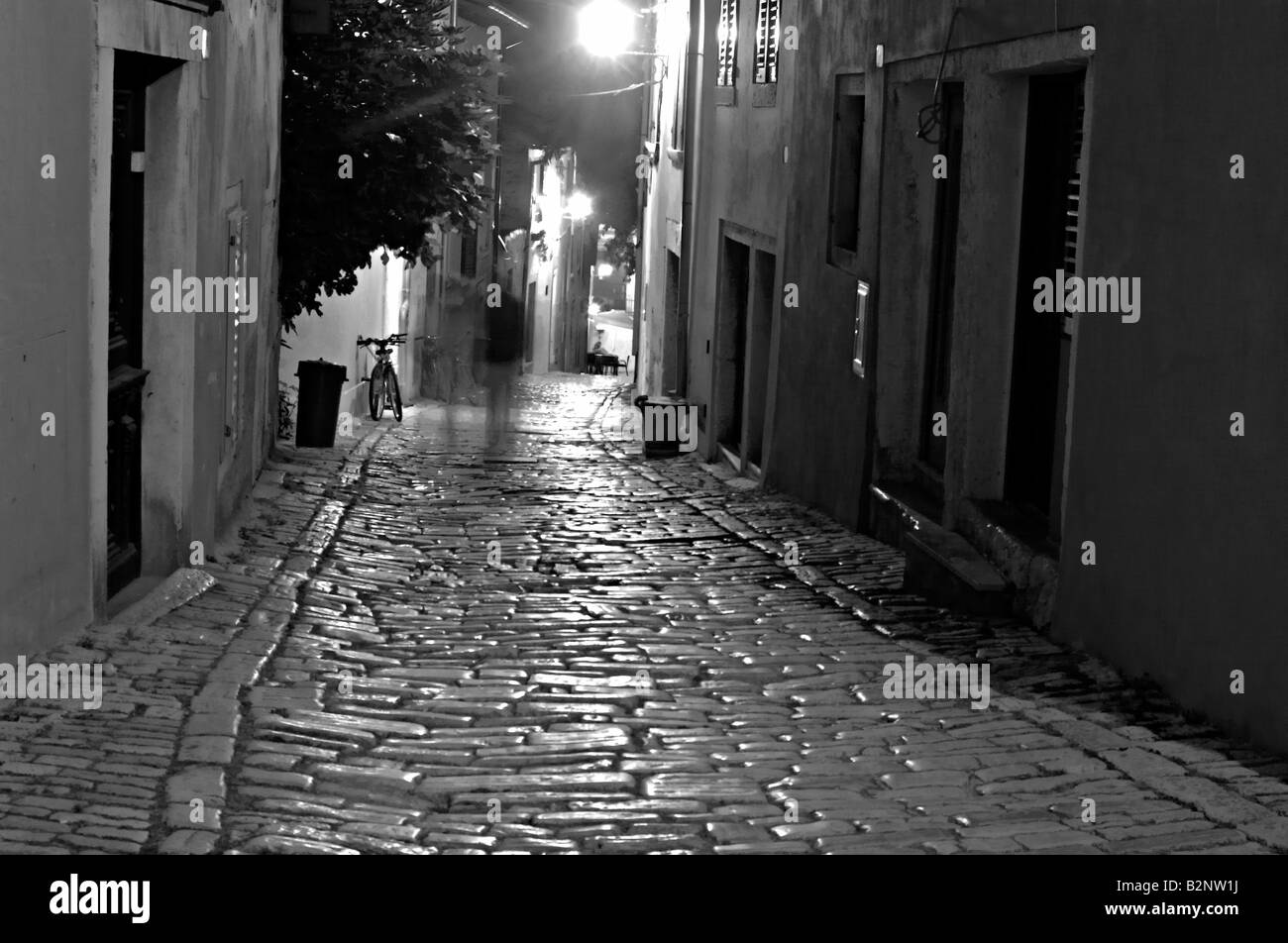 Old street in Rovinj Istria Croatia at night Long exposure black and white photo - Stock Image