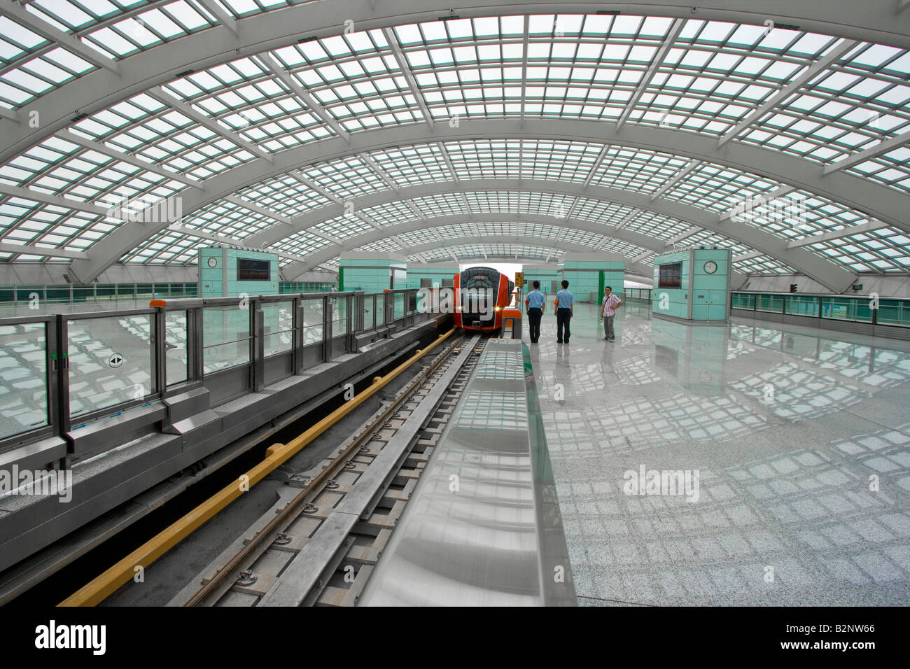 airport express train station at the new terminal three beijing stock photo 18920446 alamy. Black Bedroom Furniture Sets. Home Design Ideas