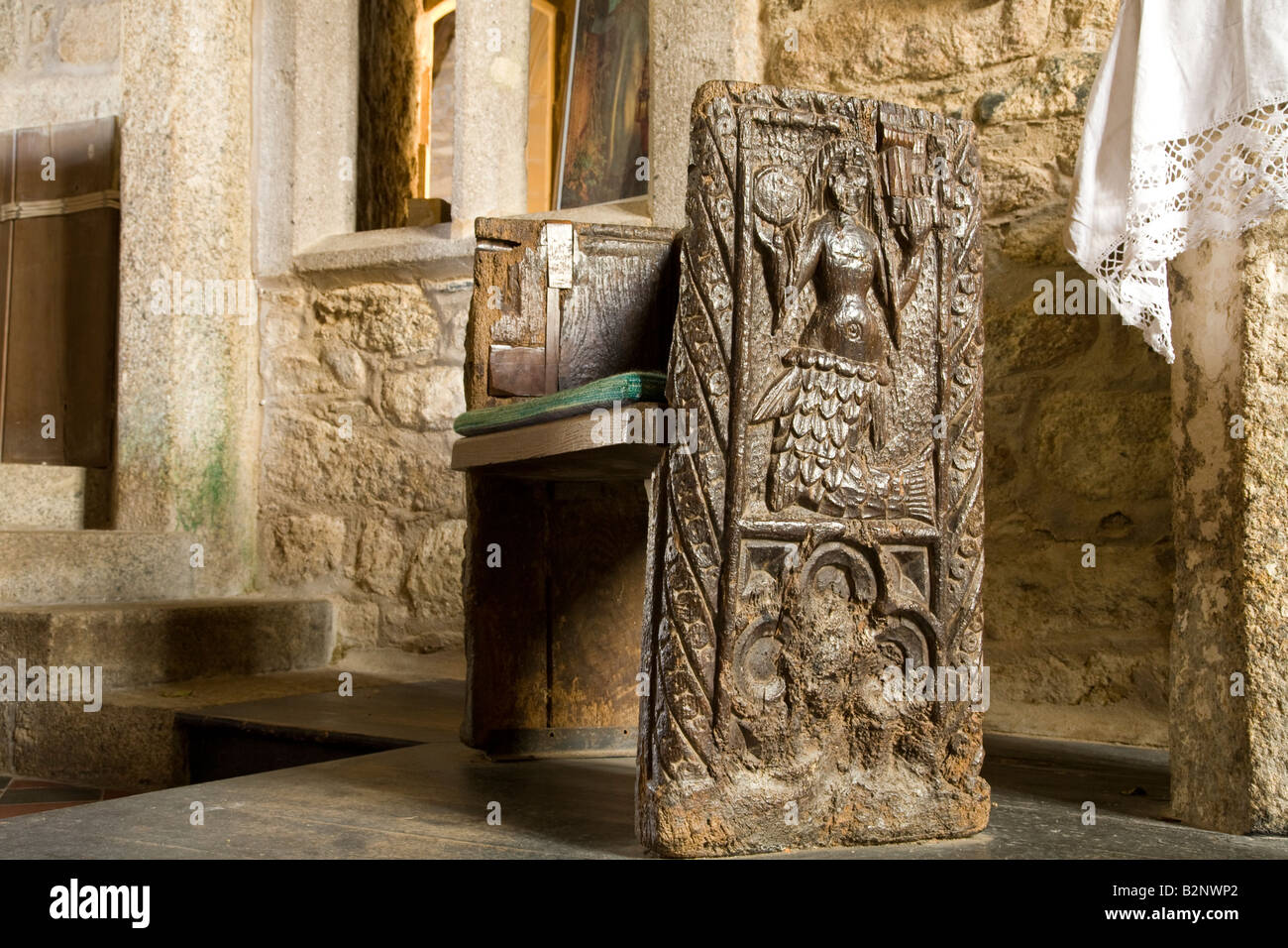 Mermaid church pew in Zennor near St Ives Cornwall West Country England UK United Kingdom GB Great Britain British - Stock Image