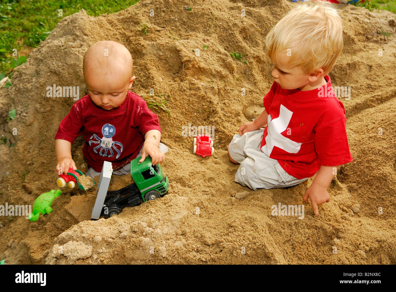 Baby Blonde Boy Boys In Sand Pit Playing Toys Playground 1 2 3 Years