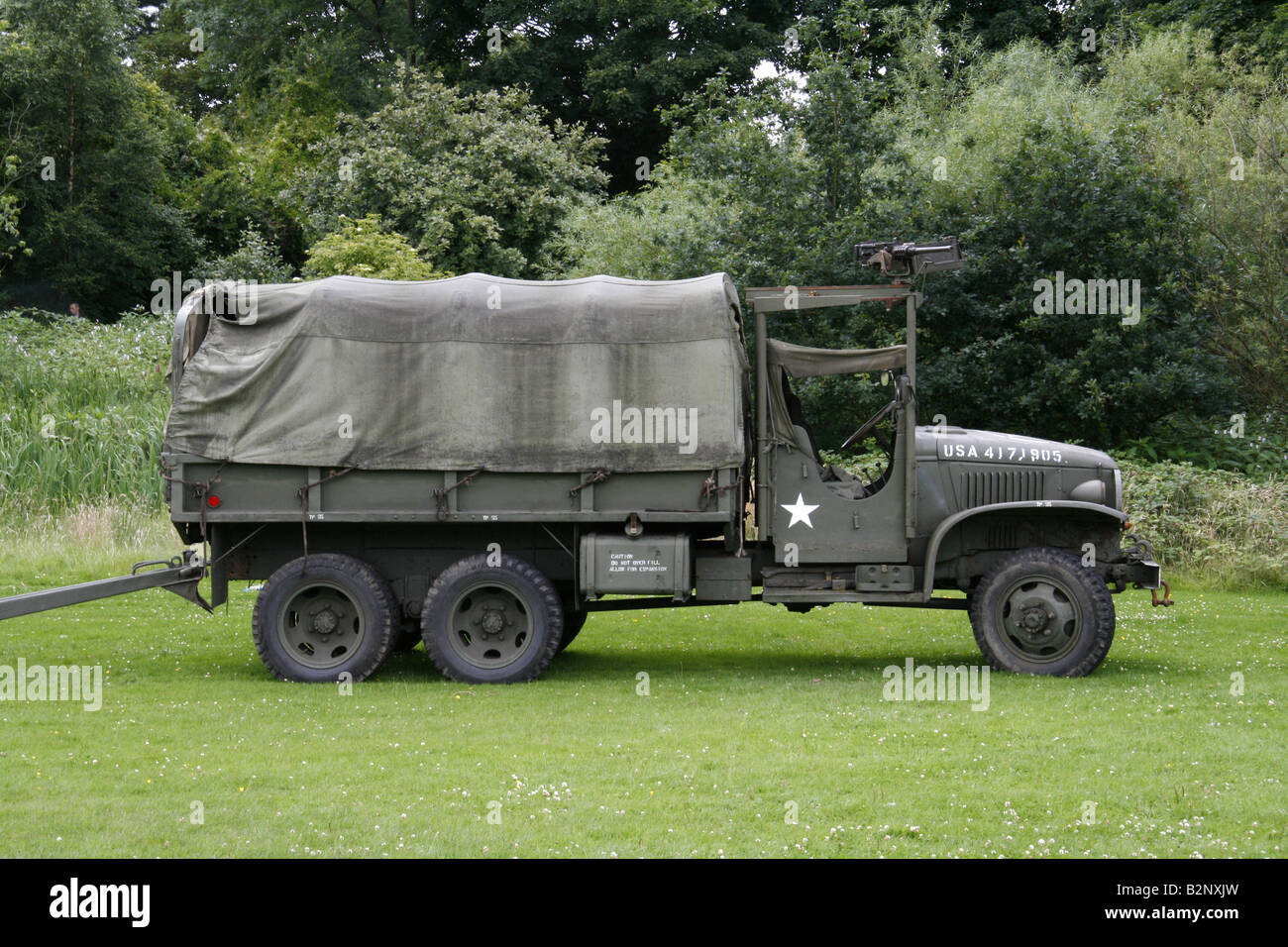 World War 2 Army Truck with machine gun mounted on the cab, at a show Stock Photo: 18921585 - Alamy